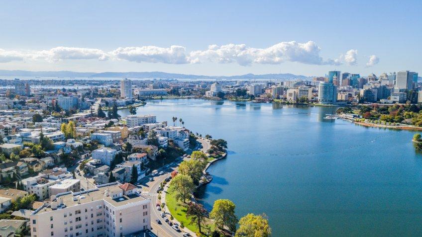 Aerial view above Lake Merritt in Oakland, California.