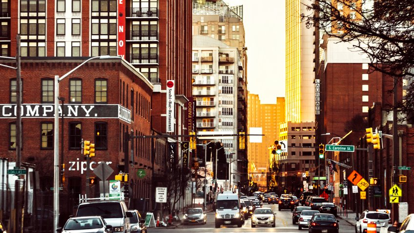 Baltimore downtown traffic at sunset time