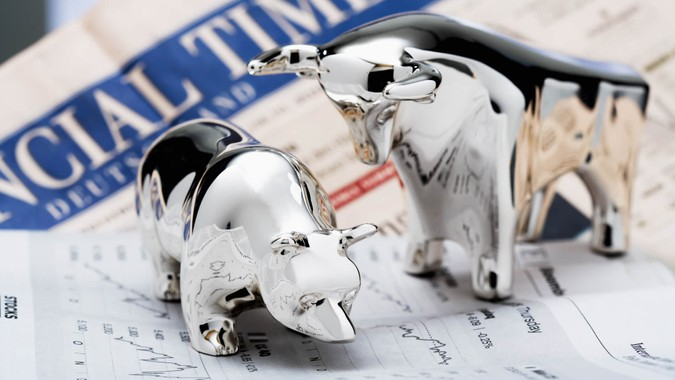 bull and bear, Financial Times in the background.