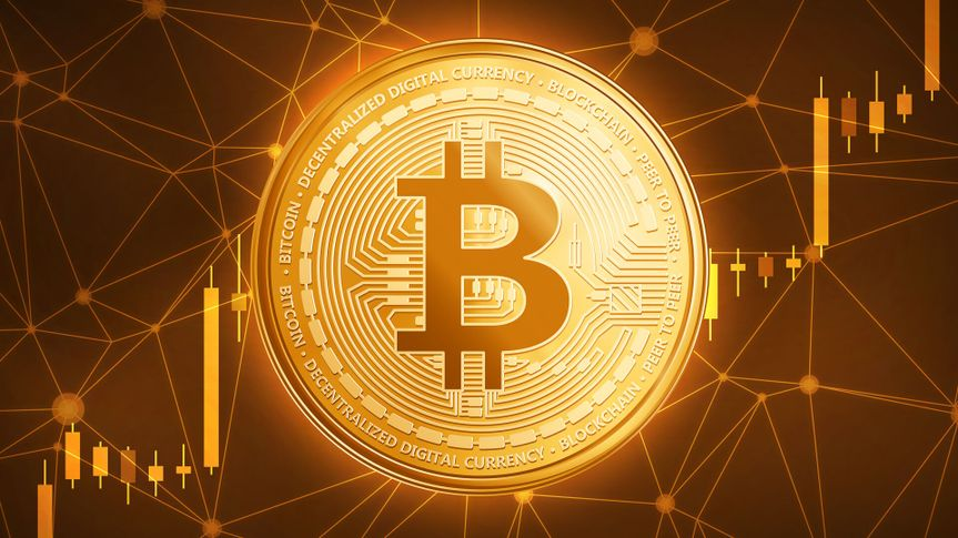 Golden bitcoin coin with bull trading stock chart.