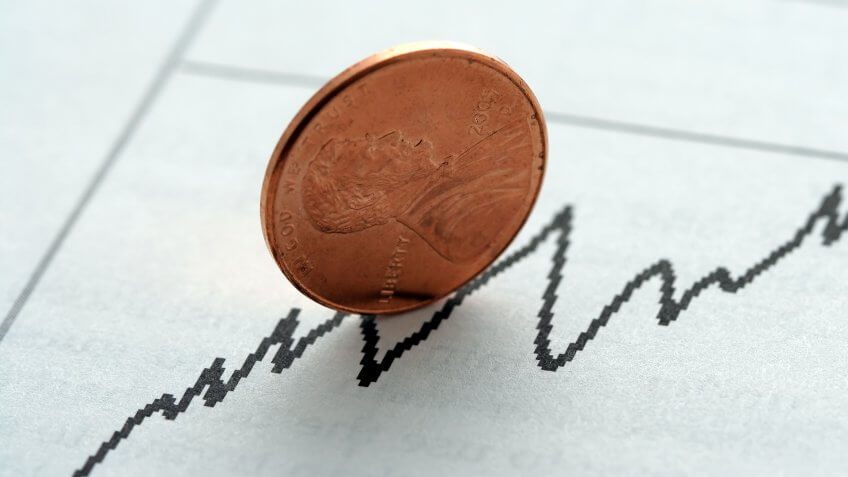 Stock graph with upward trend, symbolized with a penny.