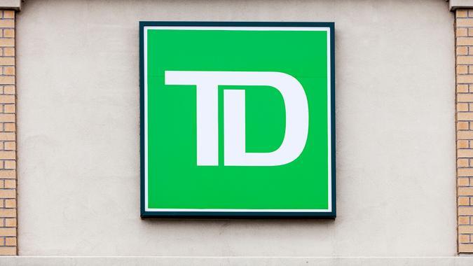 Dartmouth, Nova Scotia, Canada - April 5, 2012: TD Bank Logo above entrance to bank.