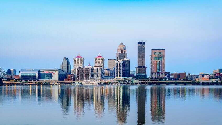LOUISVILLE, KENTUCKY, USA - JUNE 12, 2016: Louisville, located on the banks of the Ohio River, is home to the Kentucky Derby and the hometown of Muhammad Ali.