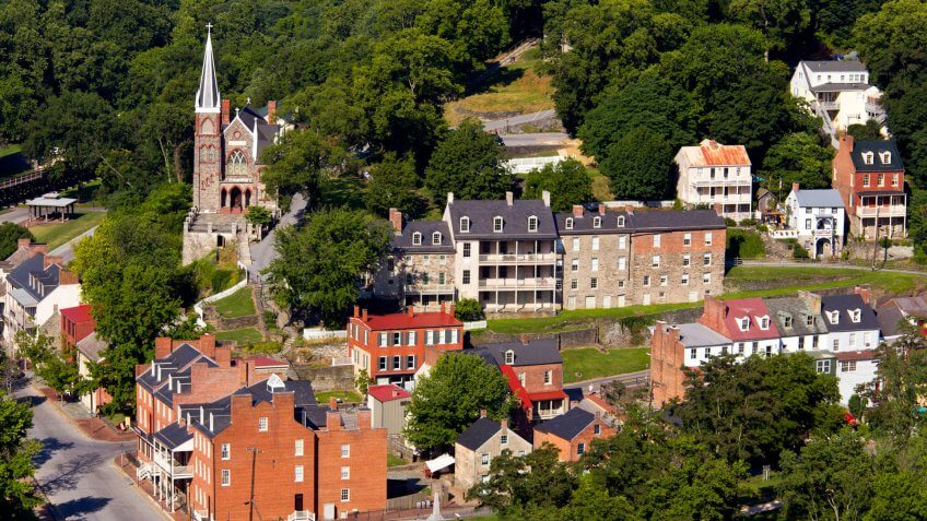 Aerial view over the National Park town of Harpers Ferry in West Virginia with the church and old buildings in the city.