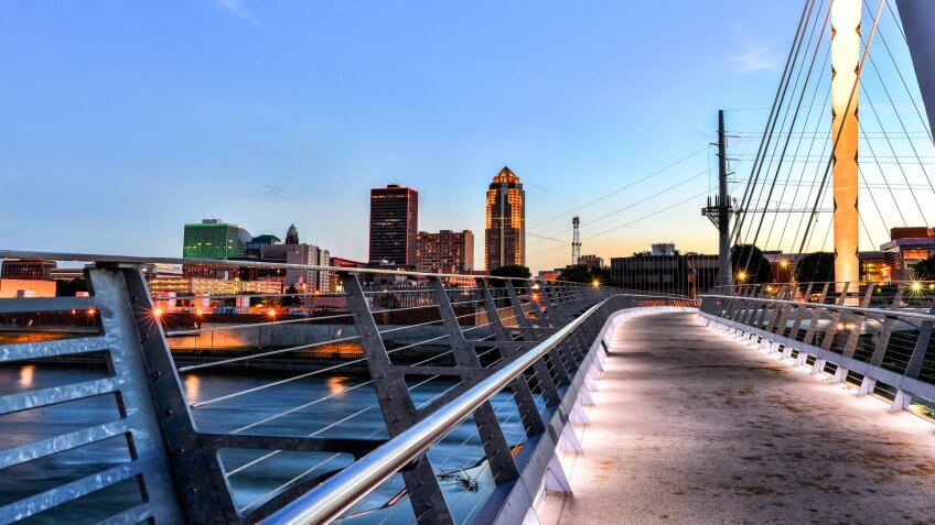 Des Moines Skyline and Walking Bridge at Night.