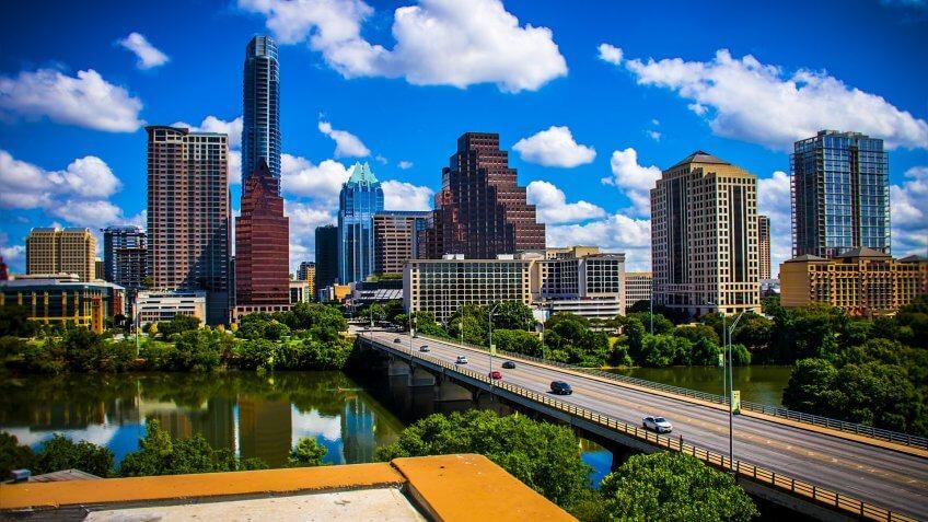 Austin Texas during sunny summertime perfect cityscape skyline s
