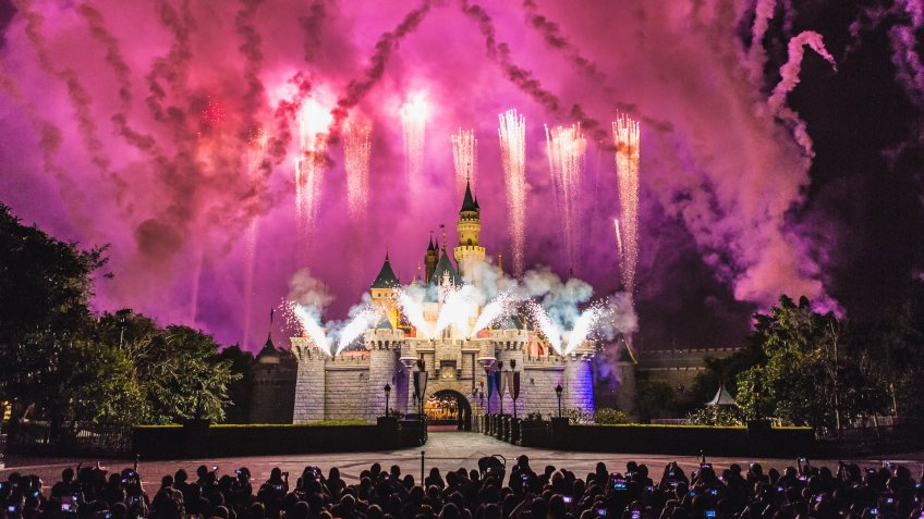 Disneyland, Disneyland Resort, castle, fireworks, theme park