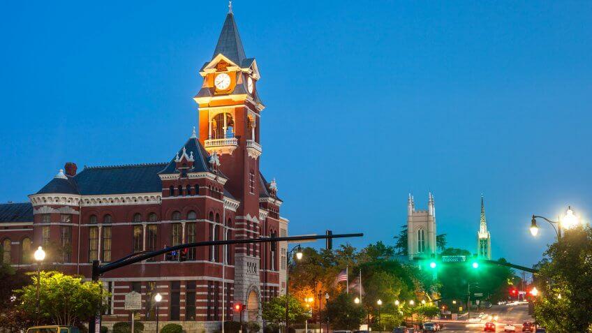 Wilmington, North Carolina, USA at night.