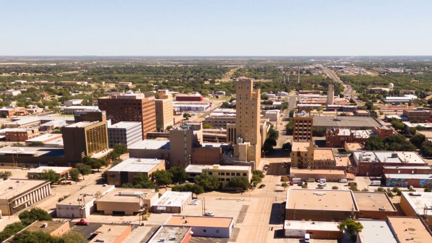 A birdseye view of Lubbock Texas downtown city skylines, buildings and streets.