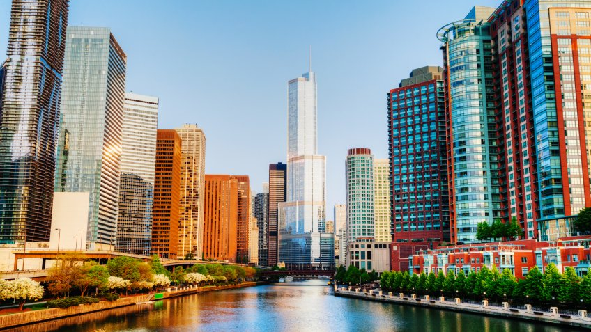 AMERICA, CHICAGO, Chicago, Illinois, Places, President Trump, River North, Trump International Hotel and Tower, United States of America, homes, real estate