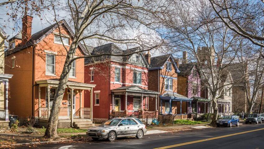2015: Row of houses on Chase Avenue in the Northside neighborhoo, CINCINNATI - DECEMBER 22