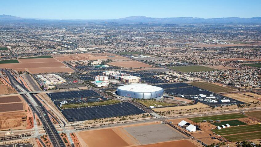 Glendale, Arizona sports and mixed use venues from above.
