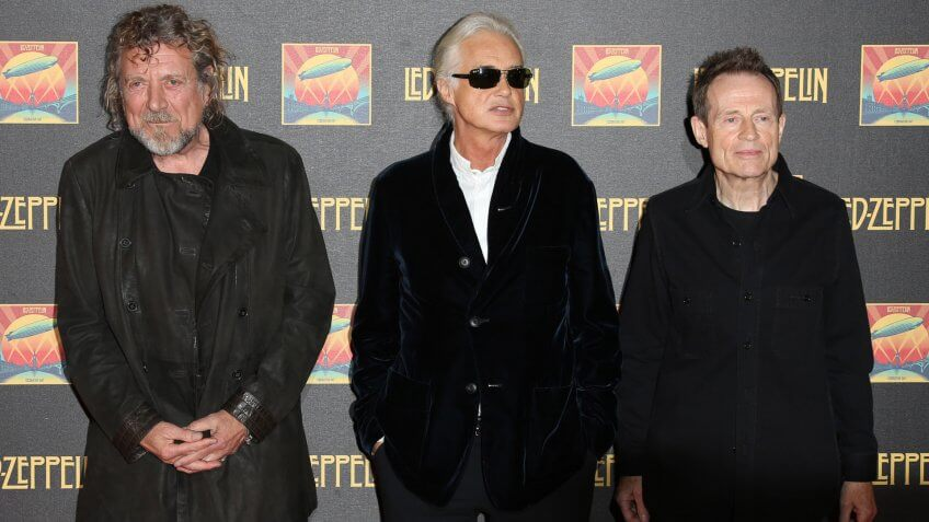 Robert Plant, Jimmy Page and John Paul Jones at the Led Zeppelin Celebration Day DVD screening launch held at Hammersmith Apollo London.