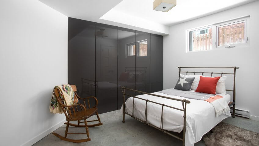 Guest bedroom in basement apartment