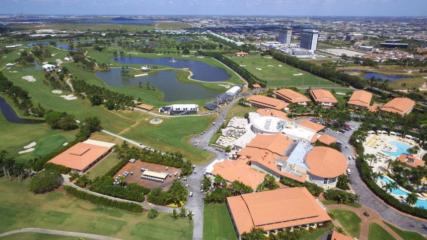 DORAL - MARCH 17: Aerial photo of Trump National Resort and Golf club which holds the annual Cadillac World Golf Championship tournament March 17, 2016 in Doral FL, USA.