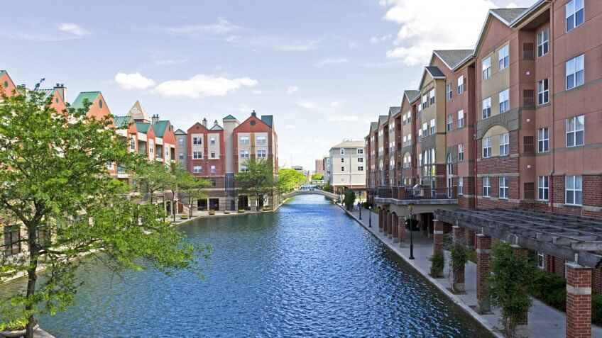 Beautiful architecture in downtown Indianapolis, INDIANA, along the central canal