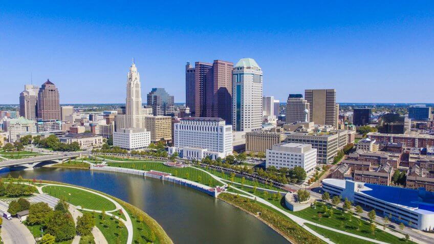 Downtown Columbus, Ohio on a beautiful summer day.