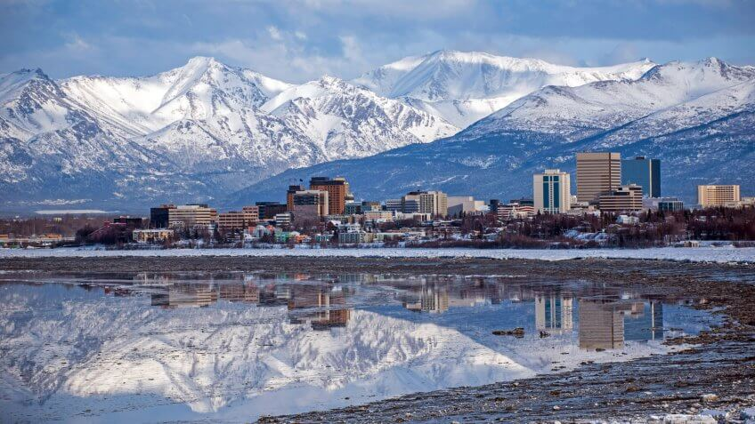 Anchorage Skyline with a winter reflection.
