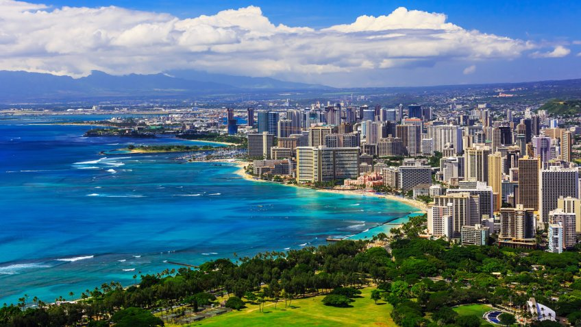 Skyline of Honolulu, Hawaii and the surrounding area including the hotels and buildings on Waikiki Beach.