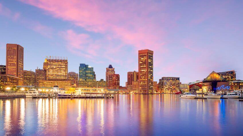 Baltimore Maryland skyline at dusk