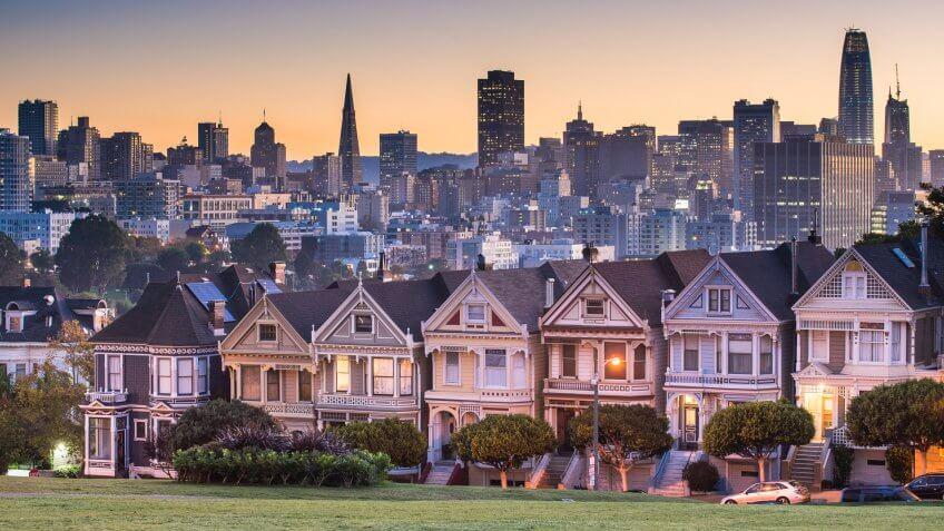 San Francisco - California, Alamo Square, Urban Skyline, City, Famous Place.