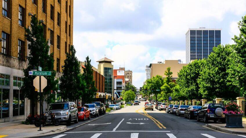Little Rock, AR, USA - June 12, 2015: View of W Markham Street in downtown Little Rock city, Arkinsas.