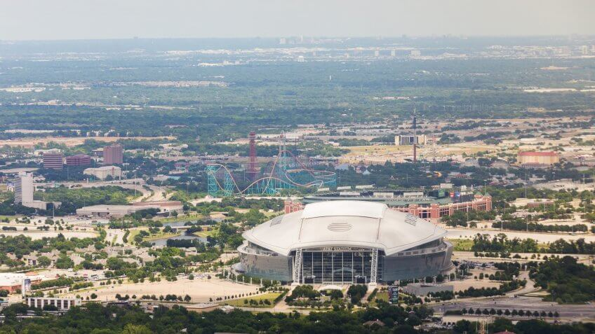 Arlington, TX, United States - May 17, 2016: Aerial view of AT&T Stadium, home of the NFL Dallas Cowboys football team.