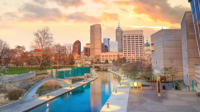 Downtown Indianapolis skyline at twilight.