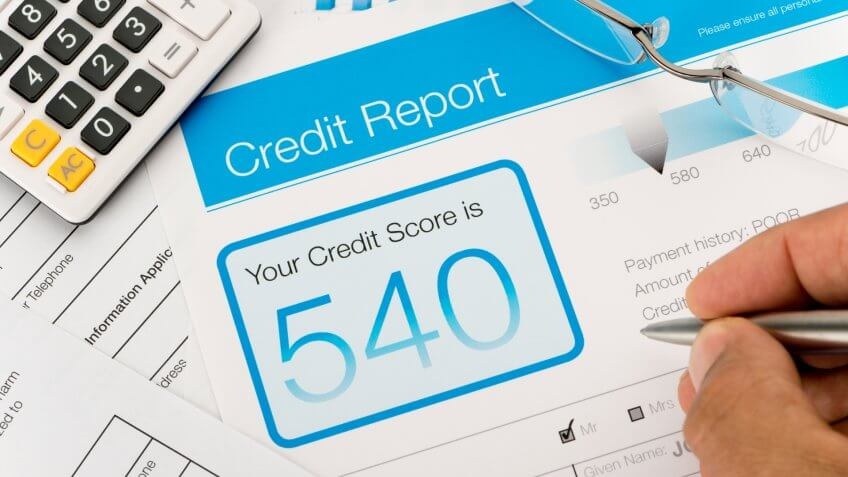 Credit report with score on a desk.