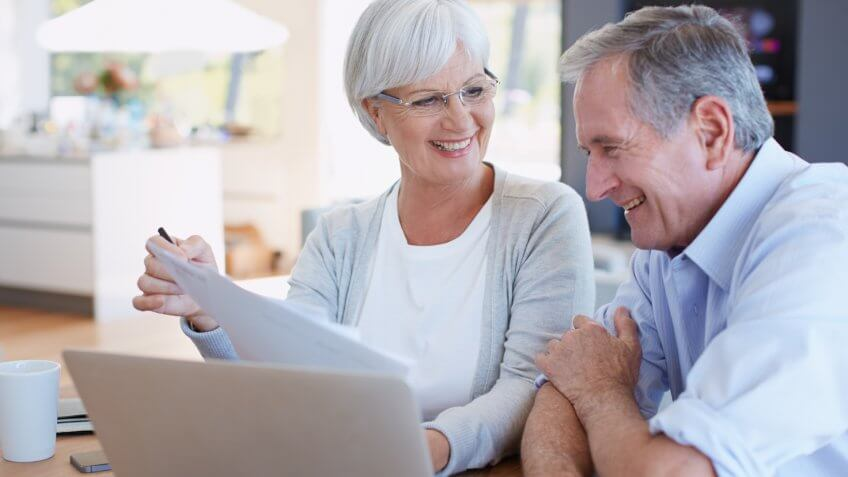 senior couple working on their finances