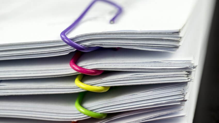 Paperwork, documents, organized, paper clips, papers
