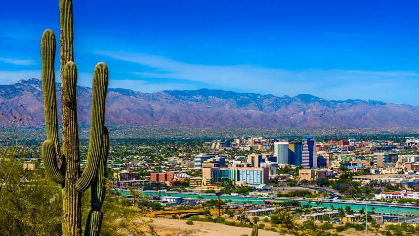 tucson skyline framed by saguaro cactus.