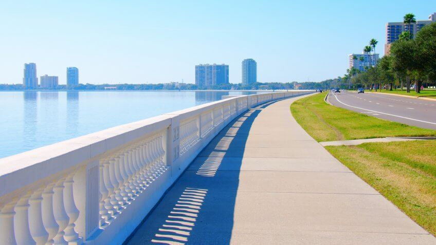 The world's longest continuous sidewalk, Bayshore Boulevard in Tampa, Florida, along Tampa Bay and is 4.