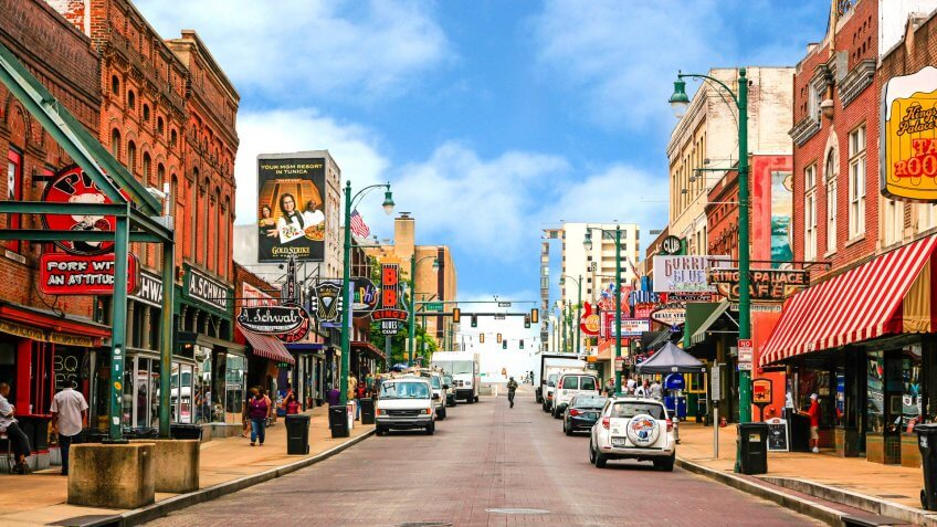 Memphis, TN, USA - August 5, 2015: View of Beale Street in Memphis, Tennessee.