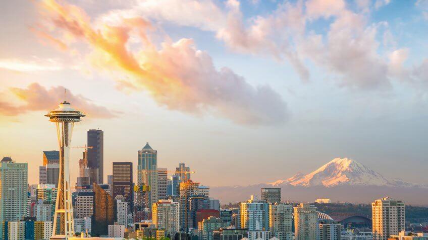 View of downtown Seattle skyline in Seattle Washington, USA.