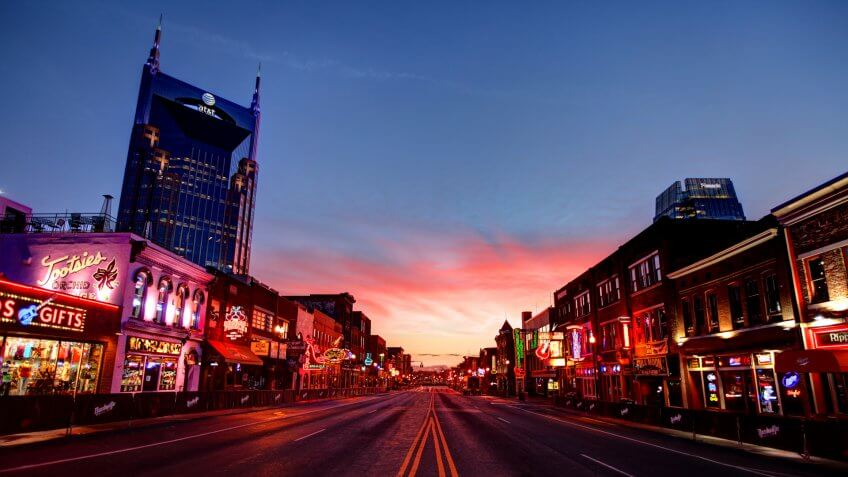 Broadway in downtown Nashville, Tennessee.