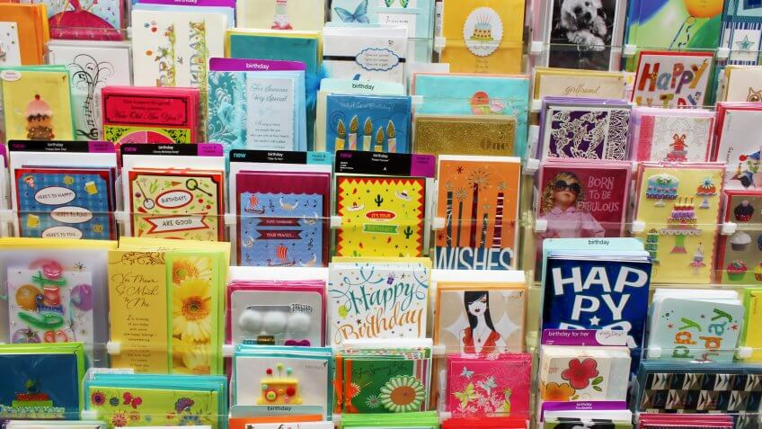 TORONTO CANADA NOVEMBER 30 2013 Greeting cards on display in a store