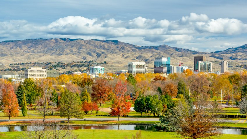 City of Boise and PArk in the fall.