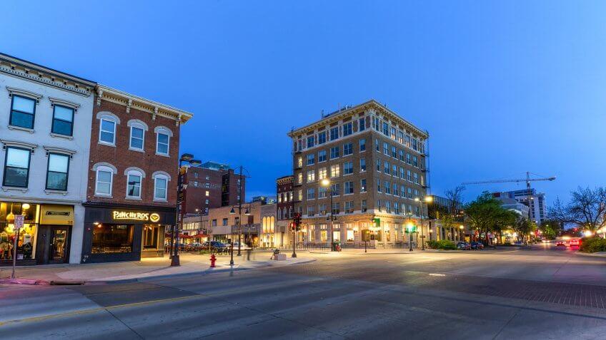 IOWA CITY, IOWA - APRIL 23, 2017: Downtown Iowa City, IA on a spring evening.