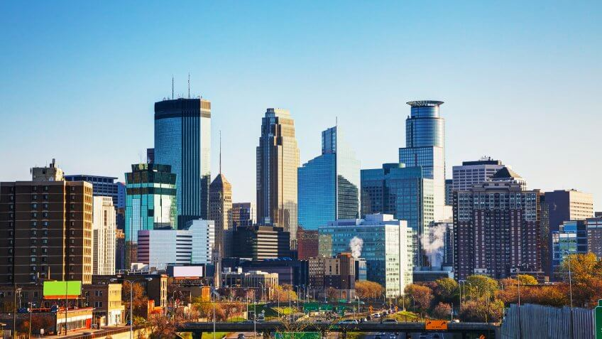Downtown Minneapolis, Minnesota in the morning.