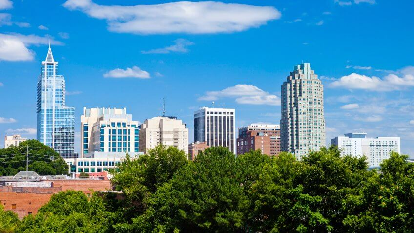 Downtown Raleigh, North Carolina On A Sunny Day.