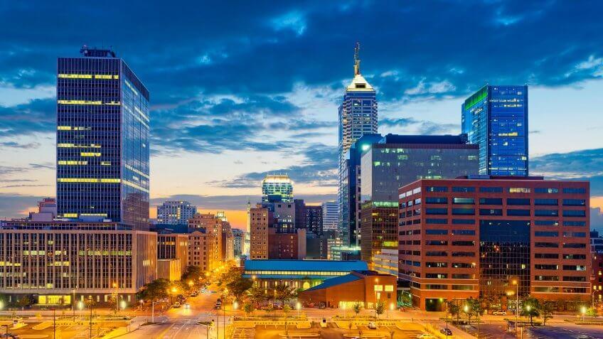 Image of Indianapolis skyline at sunset.