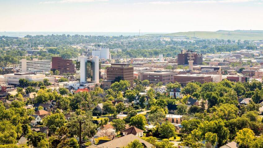 Panorama of Rapid City, South Dakota, USA.