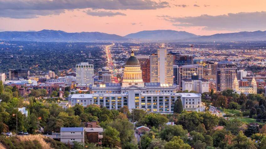 Salt Lake City skyline Utah at night.