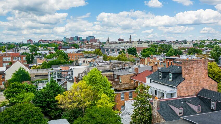 View of buildings in Fells Point, Baltimore, Maryland.