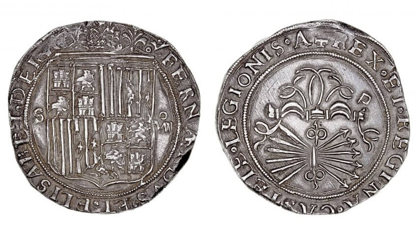 Eight Royals coin, Reyes-Catolicos, pieces of eight