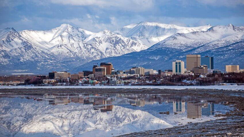 Anchorage, Alaska  Skyline with a winter reflection.