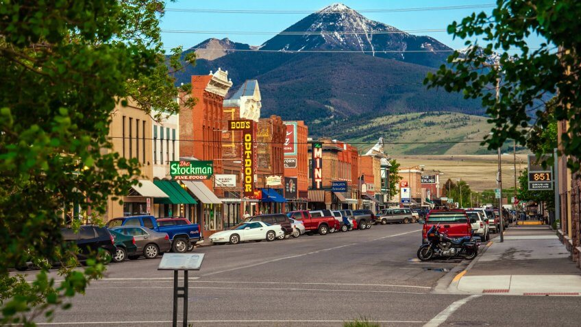 Livingston, Montana, USA - May 25, 2013 : Historic centre of Livingston near Yellowstone National Park.