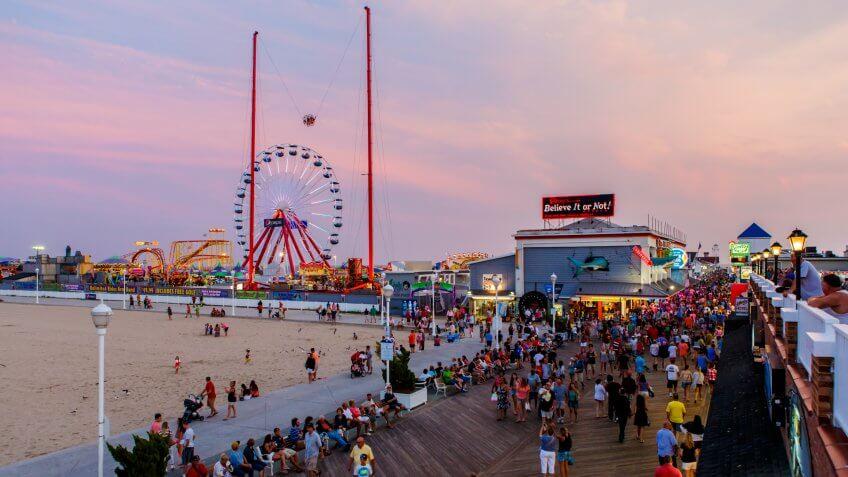 Ocean City, USA - August 4, 2014: Crowded boardwalk in Ocean City, MD on August 4, 2014.