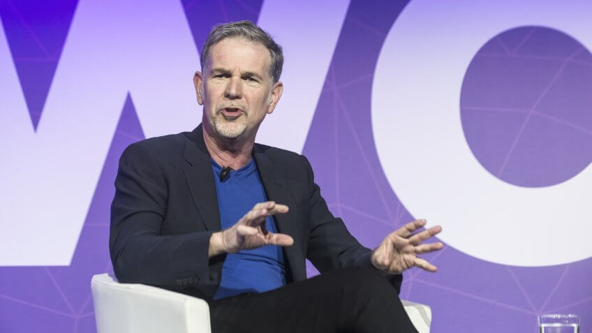 BARCELONA - FEBRUARY 27: Netflix CEO Reed Hastings speaking at the Mobile World Congress on February 27, 2017, Barcelona, Spain.